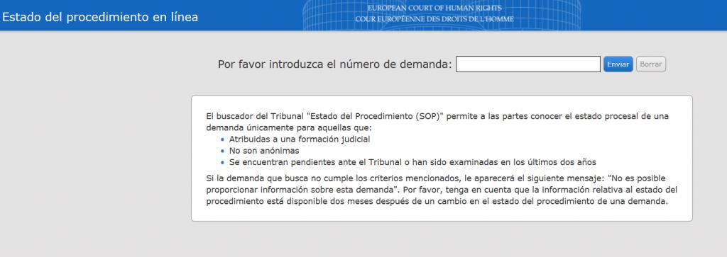 Captura de la web del TEDH sobre estados del procedimiento